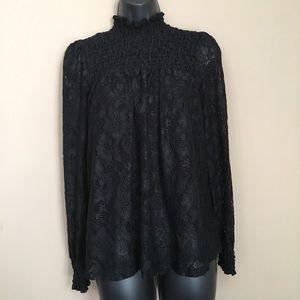 Black Lace High Collar Long Sleeve Blouse